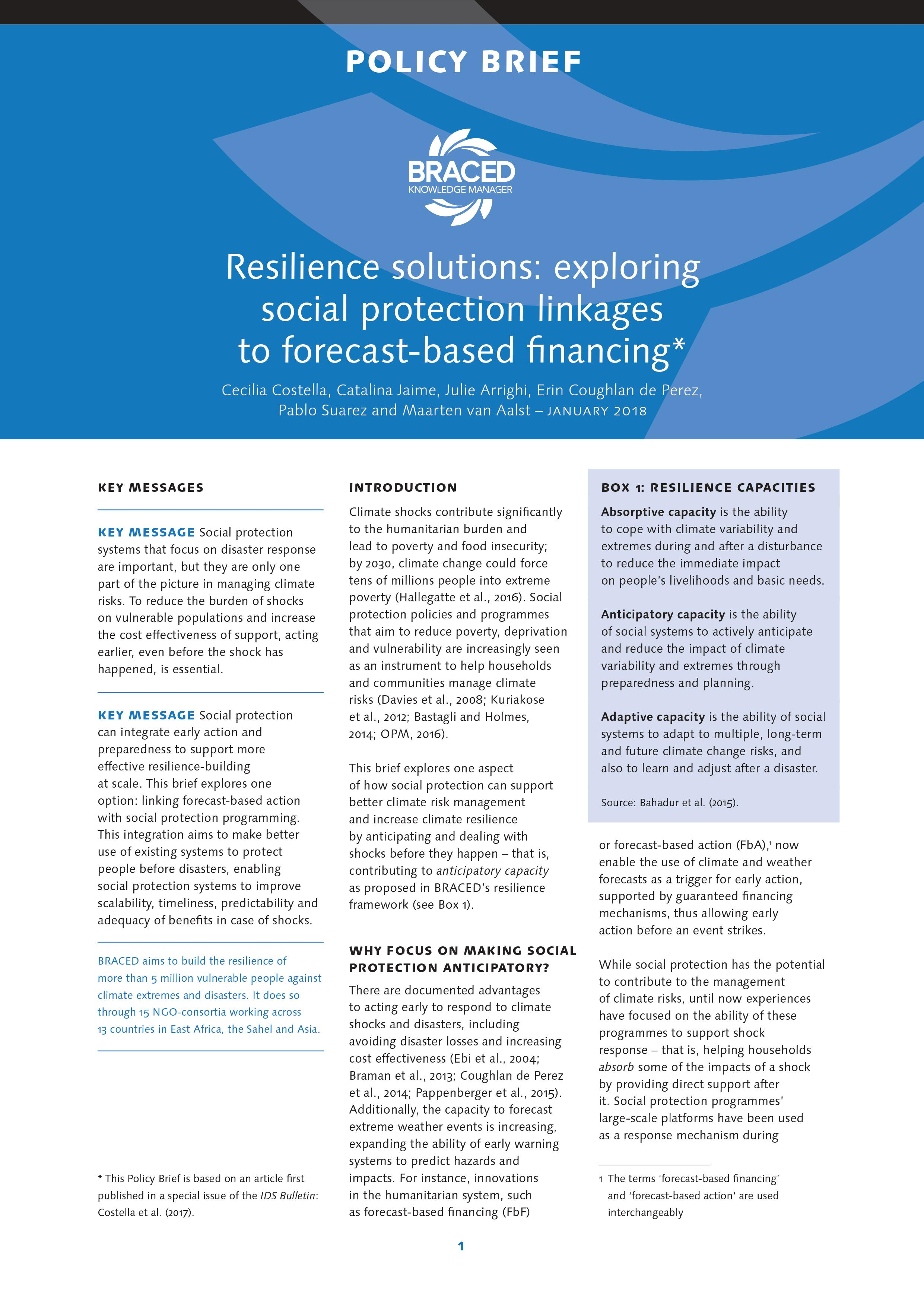 resilience solutions exploring social protection linkages to forecast based financing january 8 2018