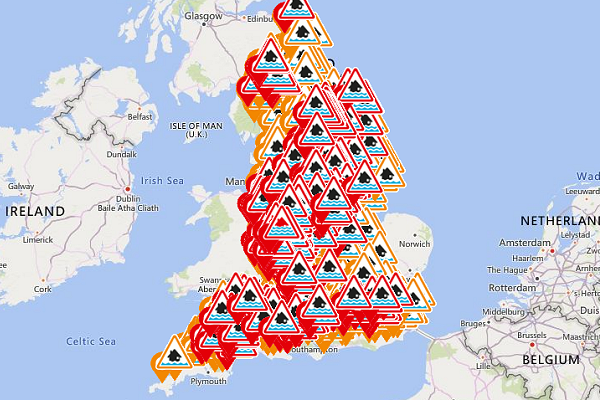 Record flood-warnings in effect as UK battered by second severe storm in a week