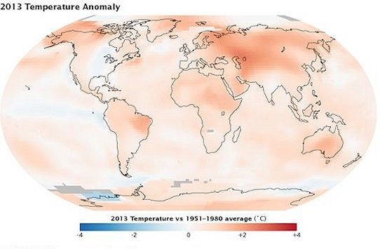 NASA: climate warming continued in 2013