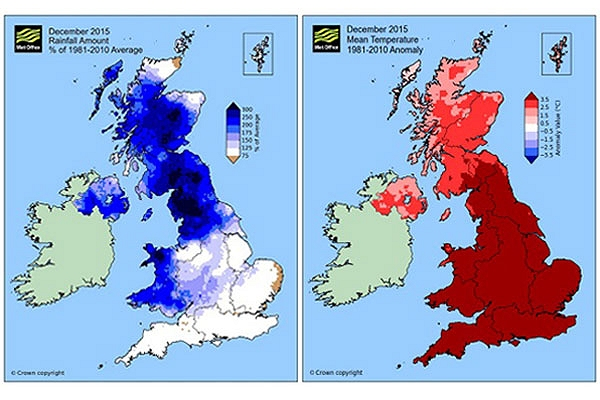 UK December: warmest and wettest on record, Met Office confirms