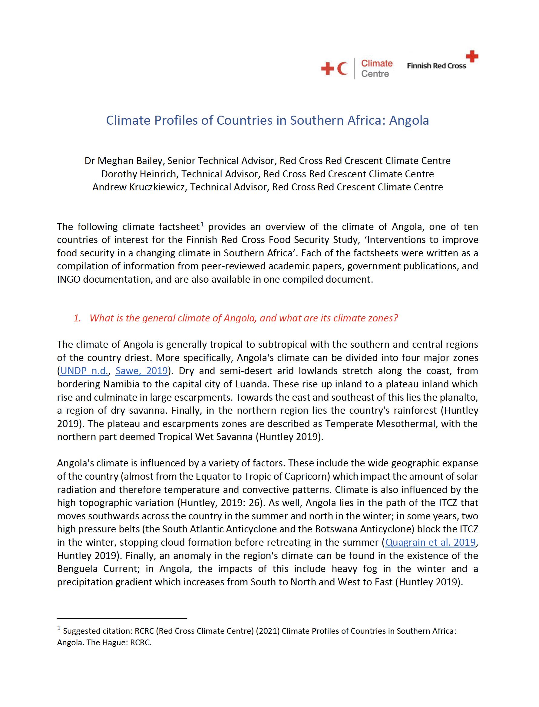 Climate Factsheet Angola