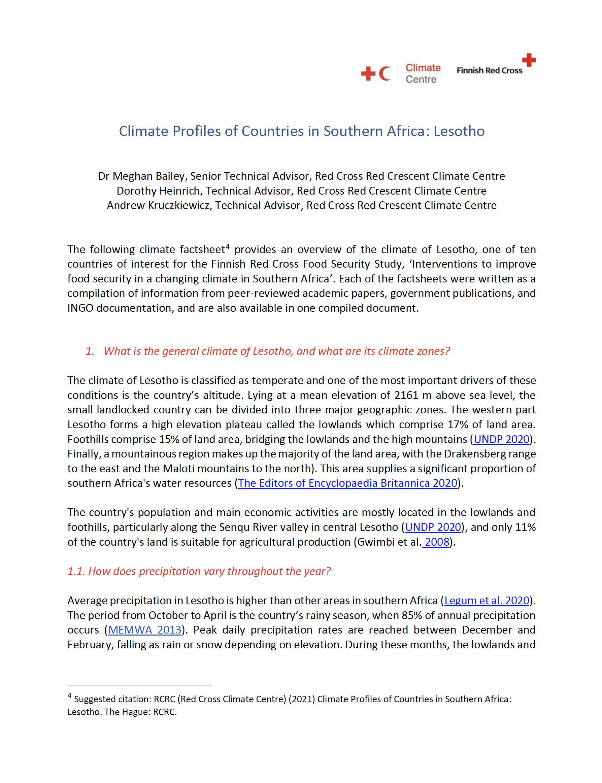 Country Factsheet Lesotho