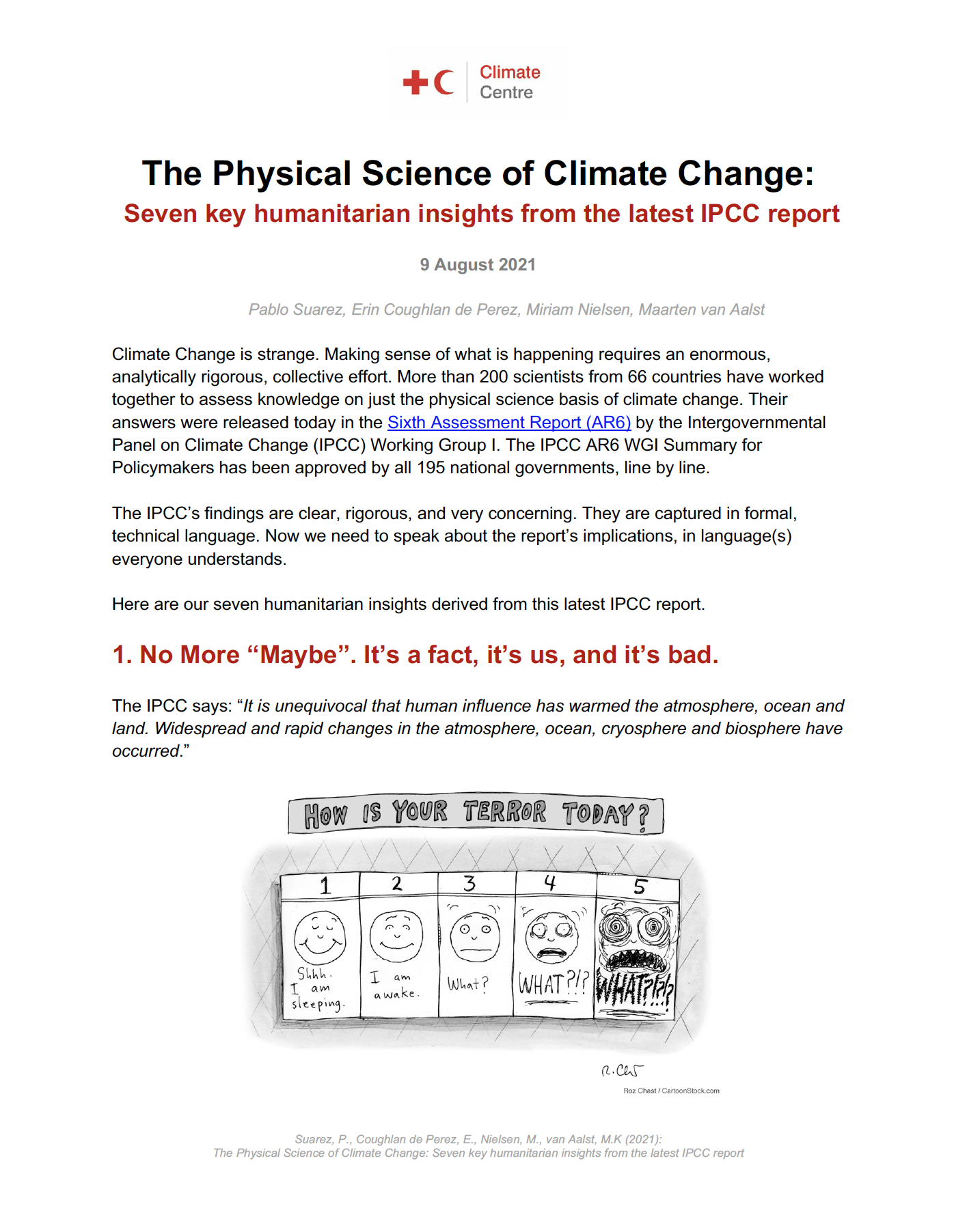 The Physical Science of Climate Change: Seven key humanitarian insights from the latest IPCC report