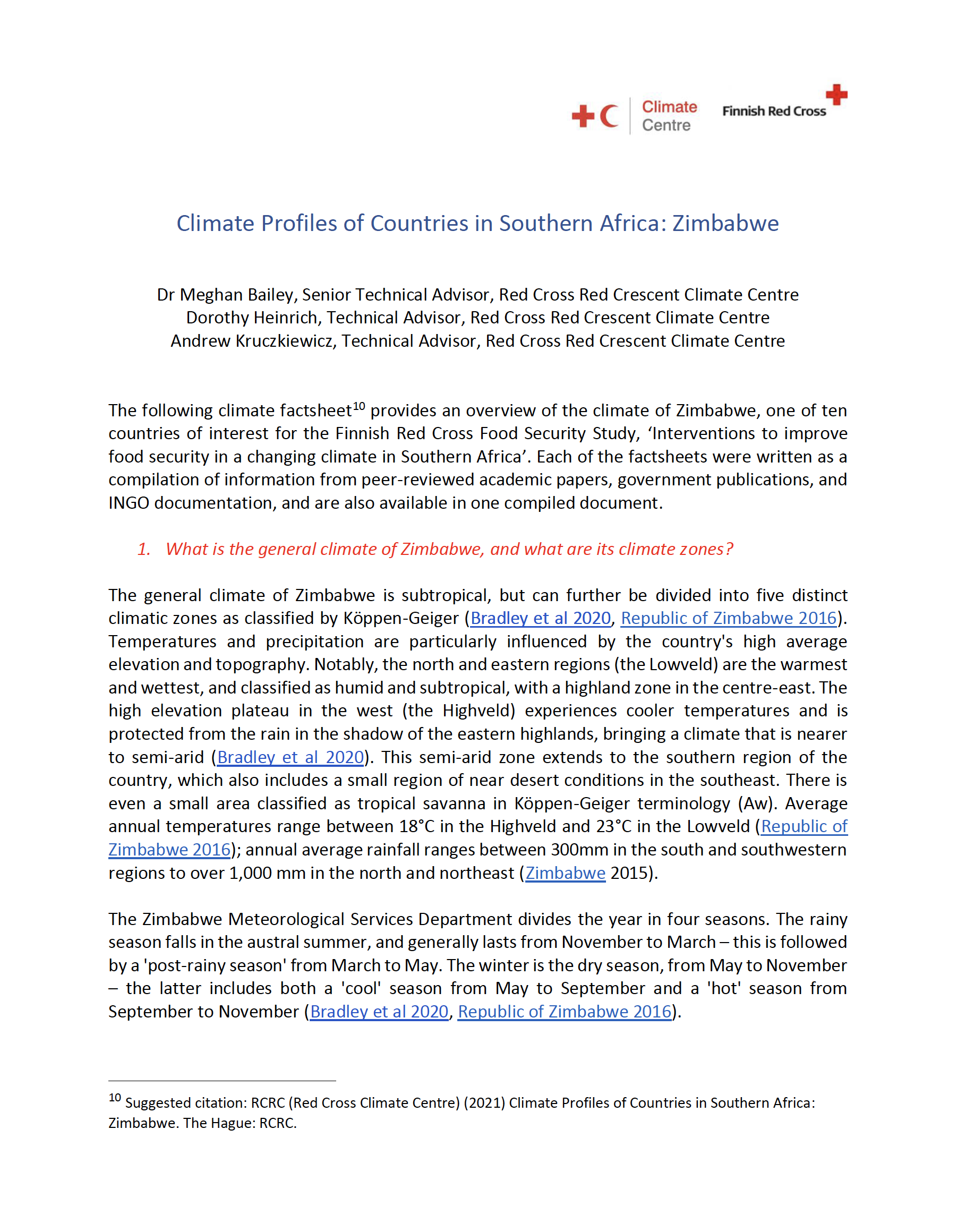 Climate Factsheet Zimbabwe