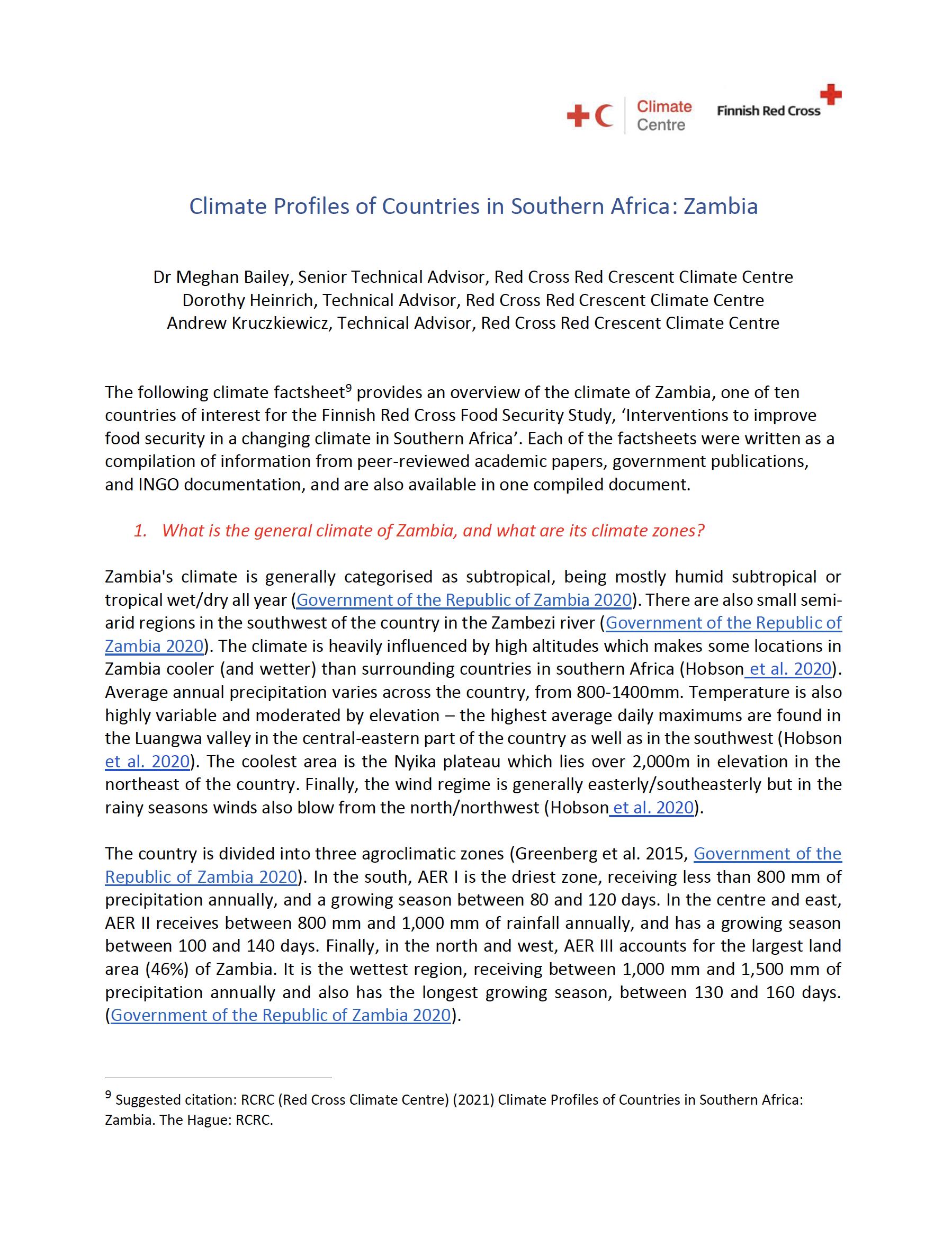 Climate Factsheet Zambia