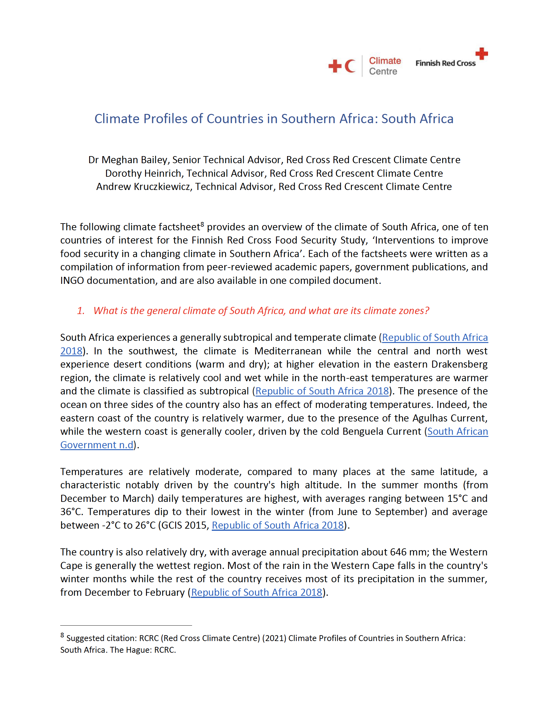 Climate Factsheet South Africa
