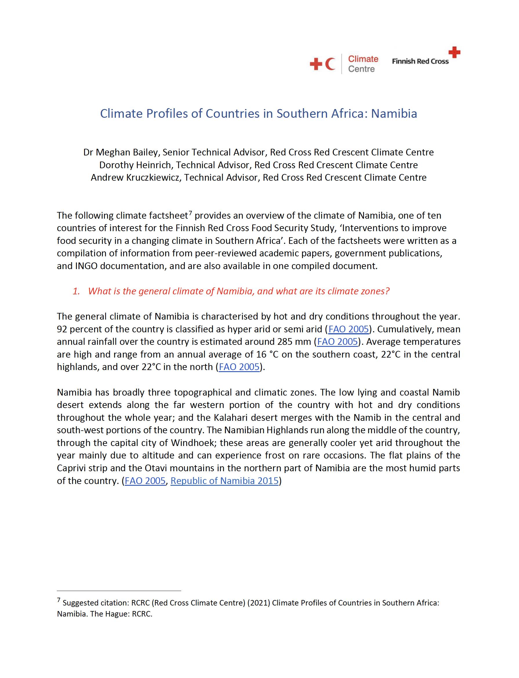Climate Factsheet Namibia