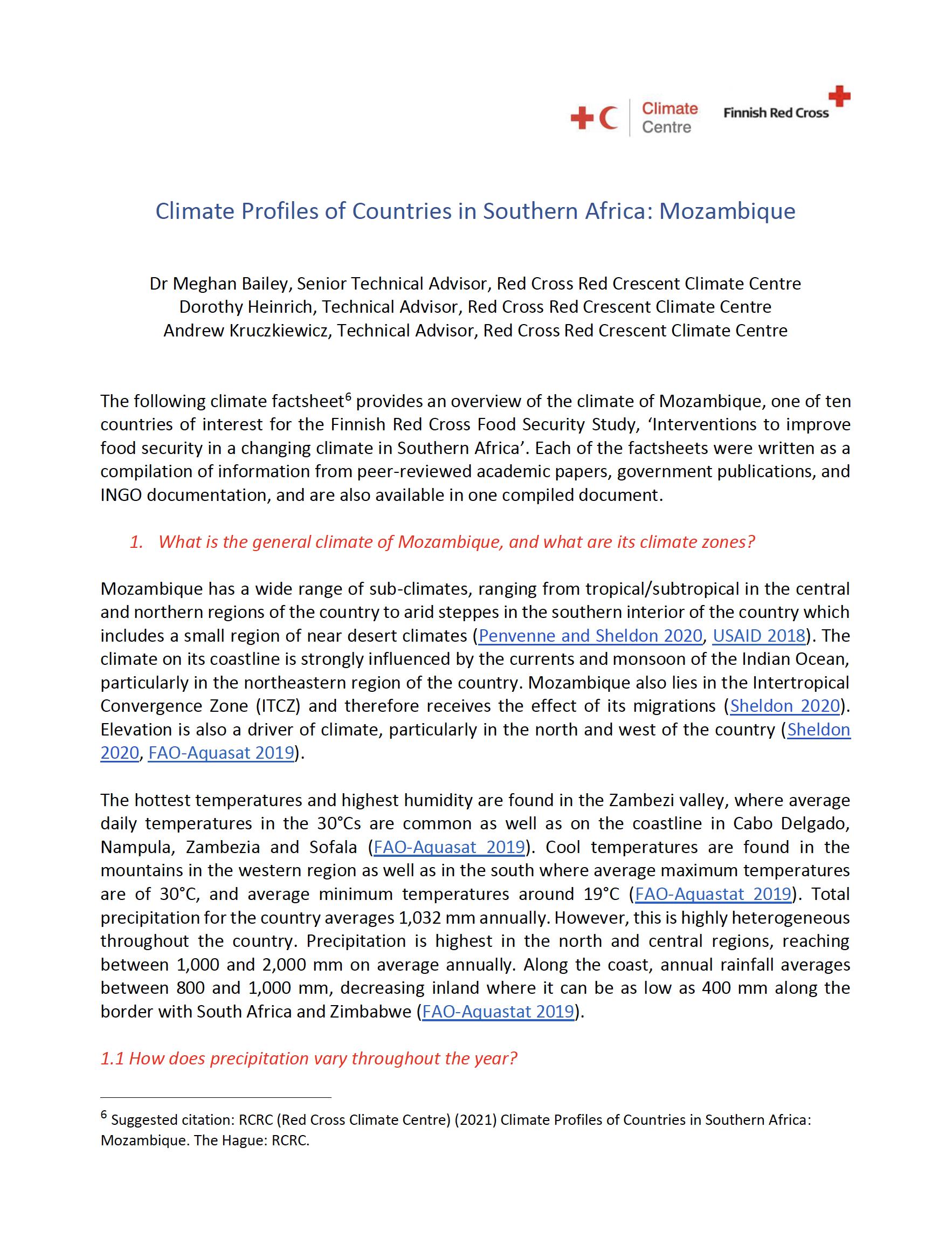 Climate Factsheet Mozambique