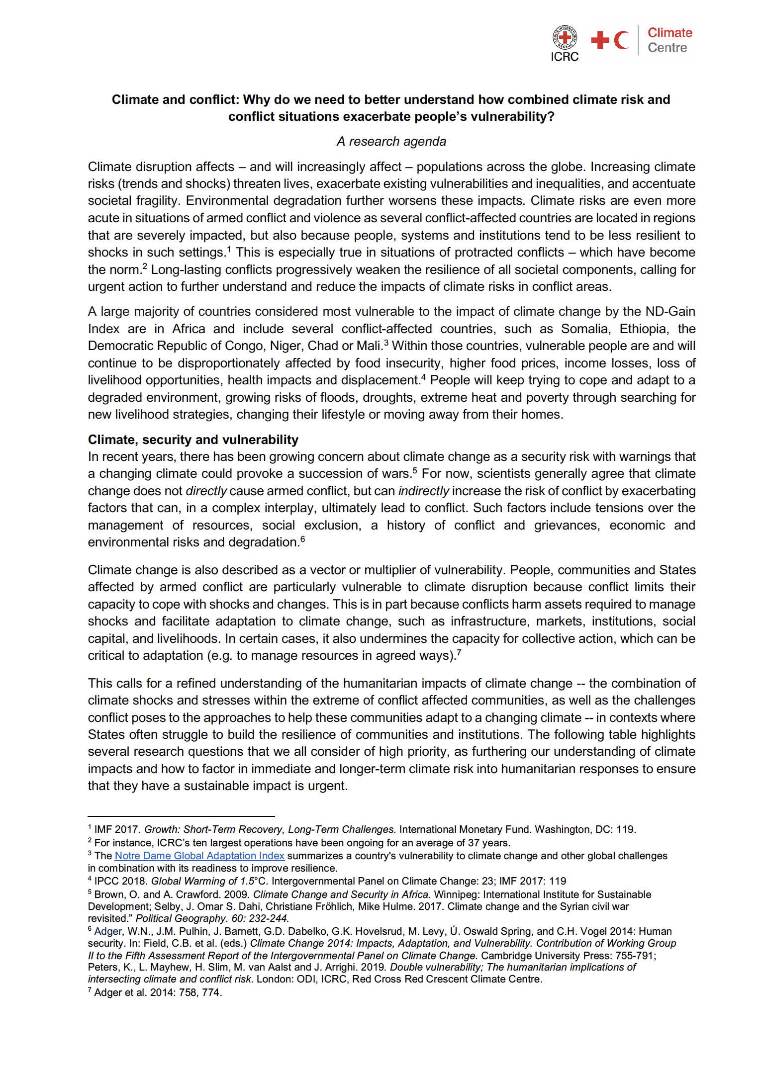 Climate and conflict: A research agenda