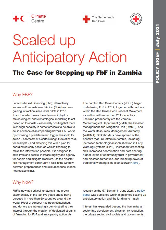 Policy brief – Anticipatory Action. The Case for stepping up FbF in Zambia